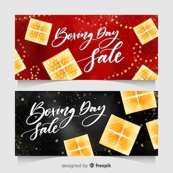 Banners de venda de dia de boxe em aquarela