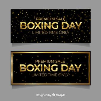 Banners de venda de dia de boxe realista