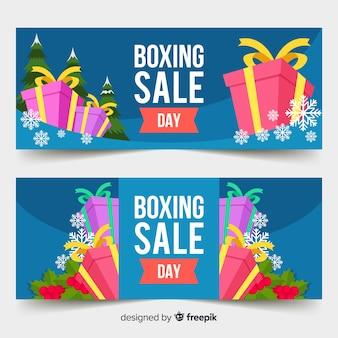 Banners de venda de dia de boxe