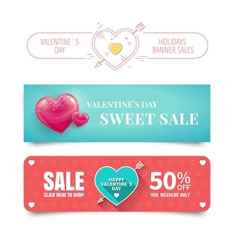 Banners de venda de dia dos namorados com coração