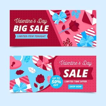 Banners de venda de dia dos namorados com presentes e rosas