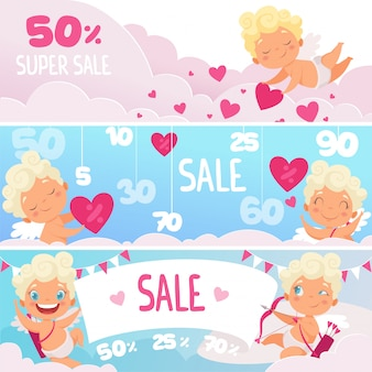 Banners de venda de dia dos namorados. corações vermelhos bonitos cupidos engraçados com arco símbolos românticos, rótulos de mercado ou web