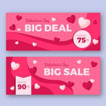 Banners de venda de dia dos namorados de design plano com descontos
