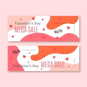 Banners de venda de dia dos namorados de design plano