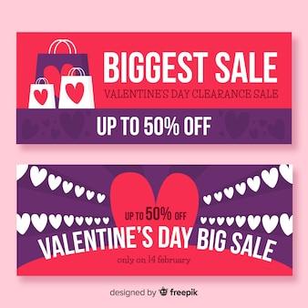 Banners de venda de dia dos namorados