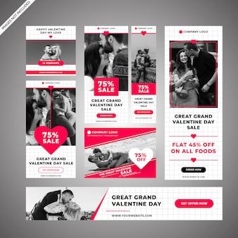 Banners de venda de estilo de dia dos namorados de grade