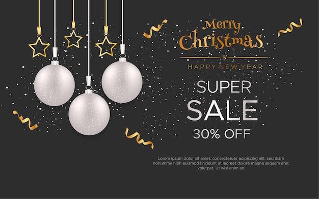 Banners de venda de feliz natal e ano novo com bolas de natal