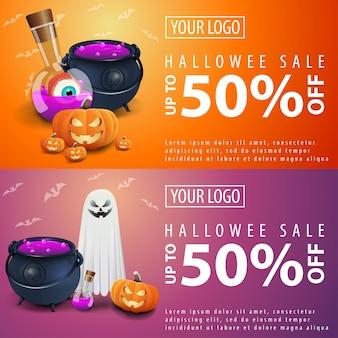 Banners de venda de halloween com abóbora jack