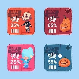 Banners de venda de halloween definir o conceito de coleção de desconto sazonal