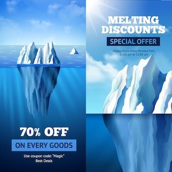 Banners de venda de iceberg