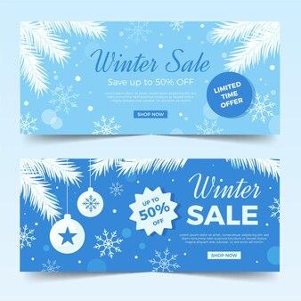 Banners de venda de inverno com coleção de elementos simples