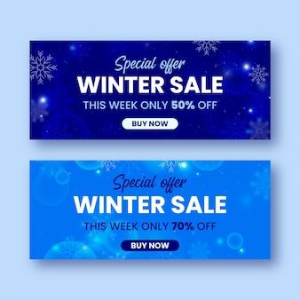 Banners de venda de inverno com elementos desfocados