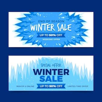 Banners de venda de inverno de design plano