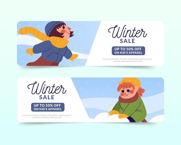 Banners de venda de inverno desenhados à mão