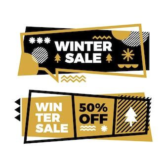Banners de venda de inverno design plano