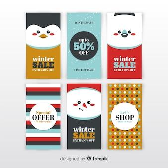 Banners de venda de inverno linda mão desenhada