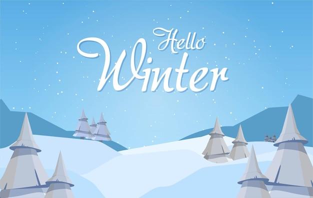 Banners de venda de inverno modelo de postagem com fundo de neve