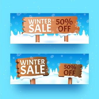 Banners de venda de inverno realista