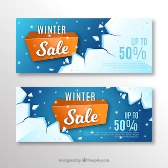 Banners de venda de inverno realistas