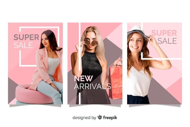 Banners de venda de moda com foto