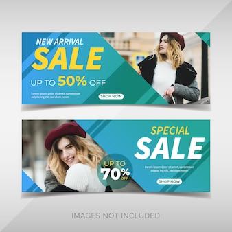 Banners de venda de moda moderna