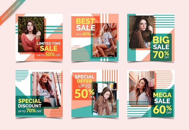 Banners de venda de moda para mídias sociais