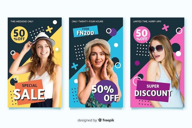 Banners de venda de moda