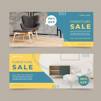 Banners de venda de móveis com desconto