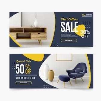 Banners de venda de móveis com foto