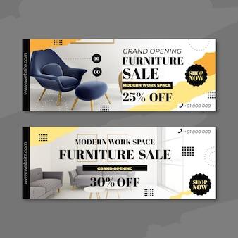 Banners de venda de móveis com imagem