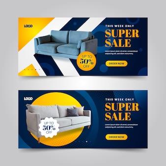 Banners de venda de móveis gradientes com foto