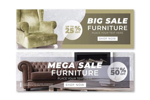 Banners de venda de móveis