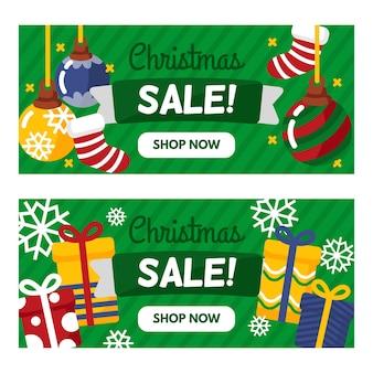 Banners de venda de natal com presentes e meias