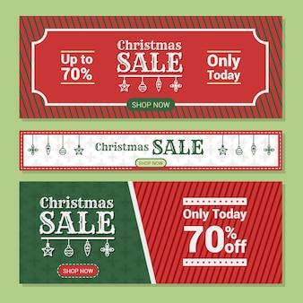 Banners de venda de natal de design plano