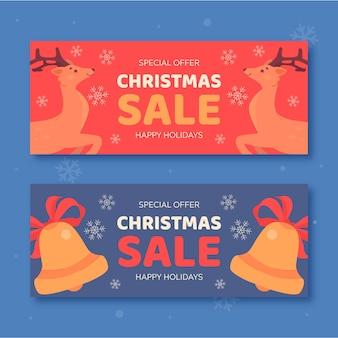 Banners de venda de natal de renas e guizos