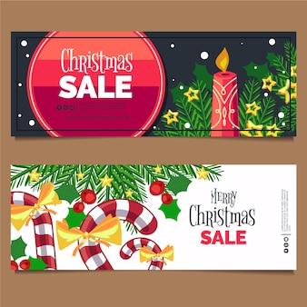 Banners de venda de natal de velas e canas de açúcar