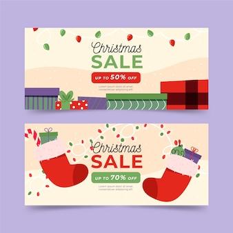 Banners de venda de natal desenhados à mão