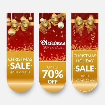 Banners de venda de natal dourado com fita e arco