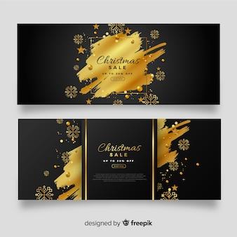 Banners de venda de natal dourado