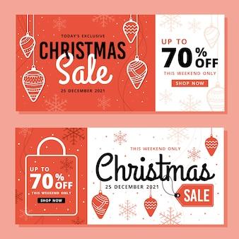 Banners de venda de natal em design plano