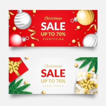 Banners de venda de natal realista