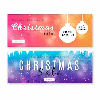 Banners de venda de natal turva