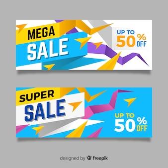 Banners de venda de origami abstrato