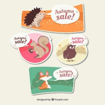 Banners de venda de outono com animais bonitos