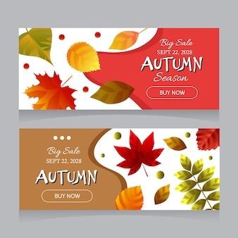 Banners de venda de outono com folhas de outono