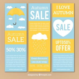 Banners de venda de outono com guarda-chuva e coração