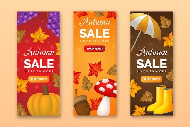 Banners de venda de outono realistas