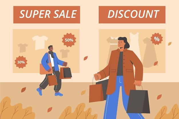 Banners de venda de pessoas de outono em design plano