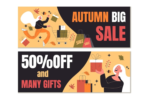 Banners de venda de pessoas planas no outono