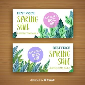 Banners de venda de primavera aquarela